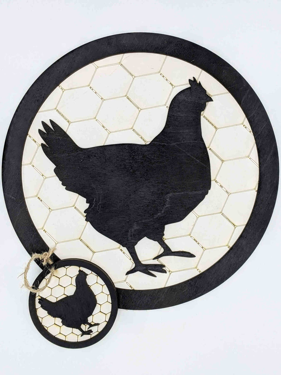 Chicken Silhouette with Chicken Wire Backing Round Wall Sign