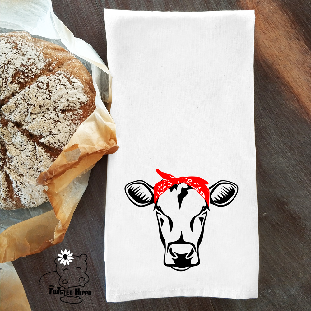 Cow with Bandana Dish/ Hand Towel Kitchen Housewarming Gift