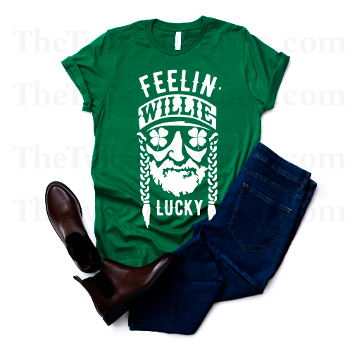 Feelin' Willie Lucky - Willie Nelson - Kelly Green - Unisex Tee