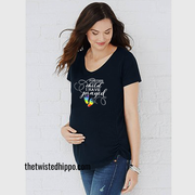 For This Child, I have Prayed Rainbow Baby Feet Black Tee