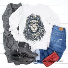 Load image into Gallery viewer, Hipster Lion - The King of the Jungle -  Long Sleeve T-shirt