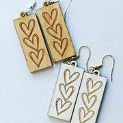 Wooden Sketch Heart Earrings