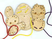Easter 3 piece wooden lacing cards