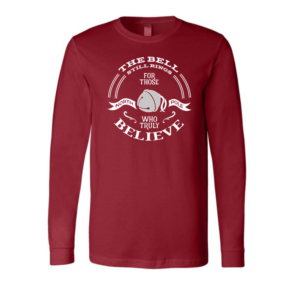 The Bell Still Rings for Those Who Truly Believe Cardinal Red Long Sleeve Unisex Holiday Tee