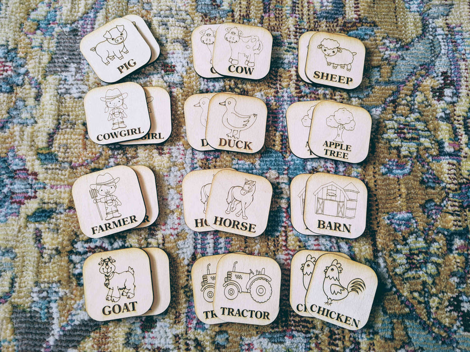 Farm Life - Montessori Memory Match - 24 piece Wooden - Game