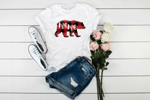 Load image into Gallery viewer, Buffalo Plaid Mama Bear White Unisex Tee
