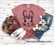 Hipster Bunny with Vintage Print Glasses - Easter Mauve T-shirt - Spring - Rabbit