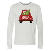 Load image into Gallery viewer, Merry Christmas Red Truck Long Sleeve Unisex Holiday Ash Tee