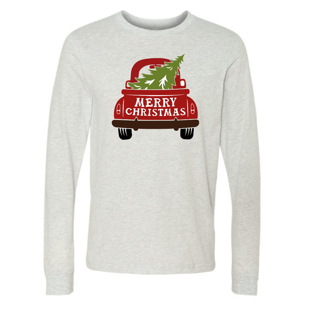 Merry Christmas Red Truck Long Sleeve Unisex Holiday Ash Tee