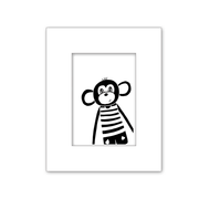 Monkey Black and White Nursery Art Decor