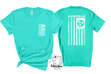 Nashville Flag Dual -Sided Front Back Unisex Teal Green