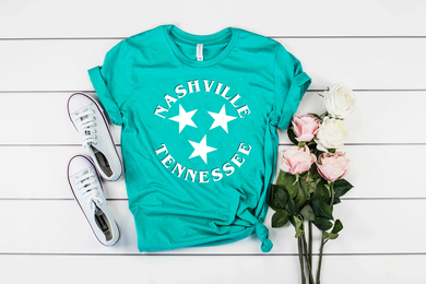 Nashville TN Unisex Soft Teal Tee