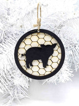 Pig- Farm House - Round Christmas Tree Ornament