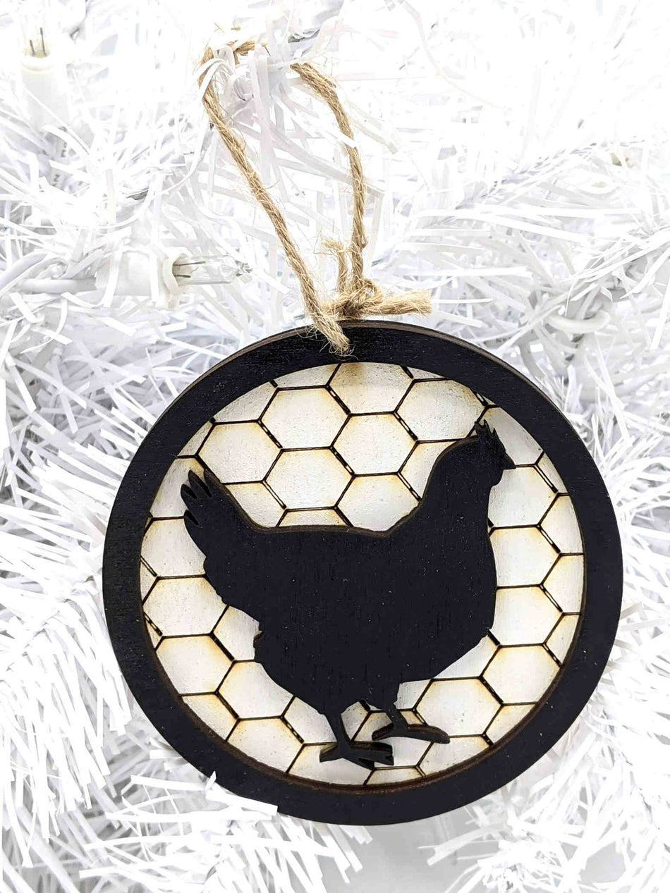 Chicken - Farm House - Round Christmas Tree Ornament