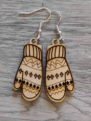 Bernie Sanders Mitten Wooden Earrings
