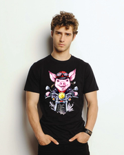 Pig on Motercycle Unisex Black Tee