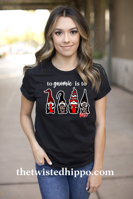 To Gnomie is to Love me Valentine Gnome Black / Red T-shirt
