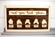 Wash Your Hands with Illustration Wooden Sign