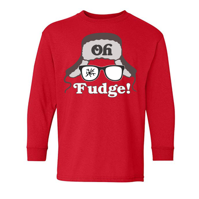 Oh Fudge A Christmas Story Ralphie Red Holiday Long Sleeve Youth Tee