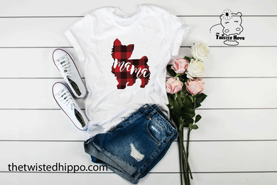 Buffalo Plaid Yorkie Dog Mama White Unisex Tee