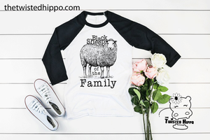 Black Sheep of the Family Funny Graphic Unisex Baseball Raglan