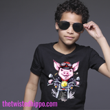Pig Riding Motorcycle Black Youth Tee