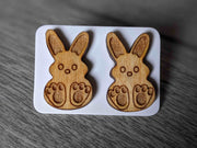 Engraved & Lightly Stained Wooden Bunny Easter Studs