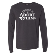 Load image into Gallery viewer, O Come Let us Adore Him Dark Grey Long Sleeve Unisex Holiday Tee