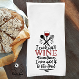 I Cook with Wine Dish / Hand Towel Kitchen Housewarming Gift