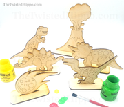 Dinosaurs roam the earth with this imagination play set with a DIY touch