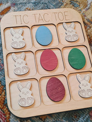 Easter Bunny & Eggs Wooden Tic Tac Toe