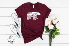 Load image into Gallery viewer, Floral Mama Bear Maroon Unisex Tee