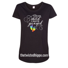 Load image into Gallery viewer, For This Child, I have Prayed Rainbow Baby Feet Black Tee