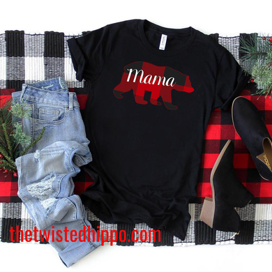 Buffalo Red Plaid Mama Bear Black Unisex T-shirt Pajama Top
