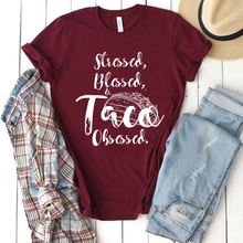 Load image into Gallery viewer, Stressed, Blessed and Taco Obsessed Graphic Taco Tuesday unisex tee