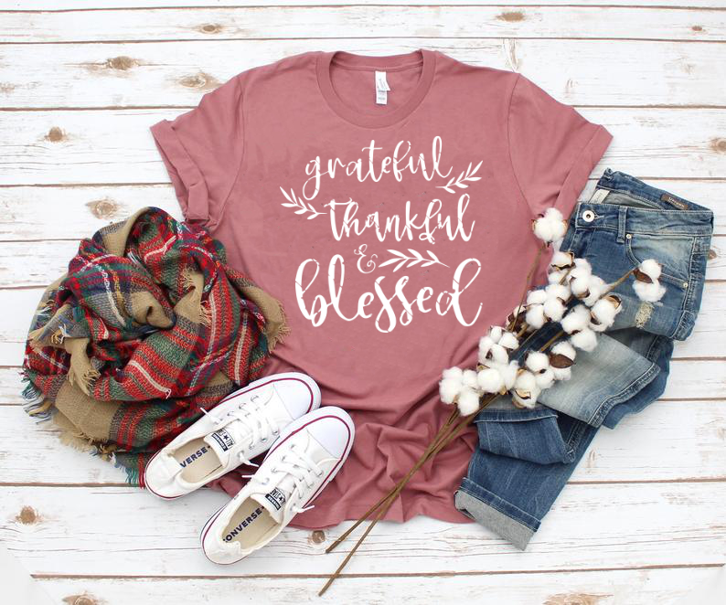 Grateful, Thankful & Blessed Thanksgiving Fall Orange Unisex Tee