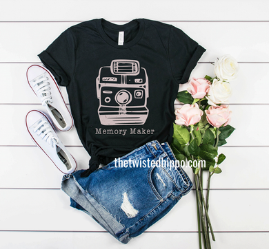 Memory Maker Polaroid Camera Photographer statement unisex tee.