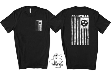 Nashville Flag Dual -Sided Front Back Unisex Black