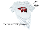 Buffalo Plaid Papa Bear White Unisex Tee