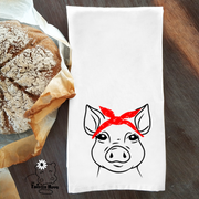 Pig with Bandana Dish/ Hand Towel Kitchen Housewarming Gift