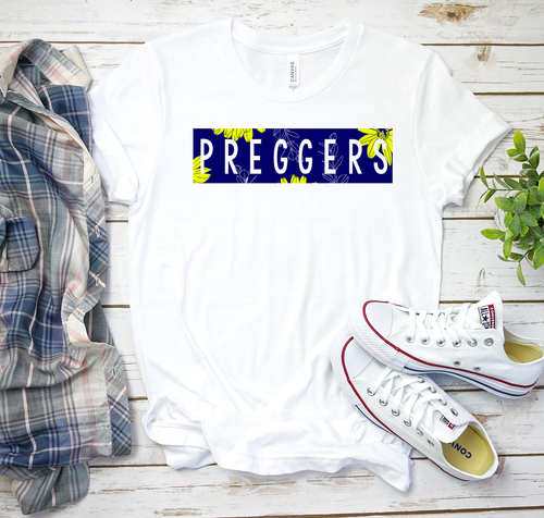 Preggers Pregnancy Announcement Reveal Floral Navy Unisex White Tee
