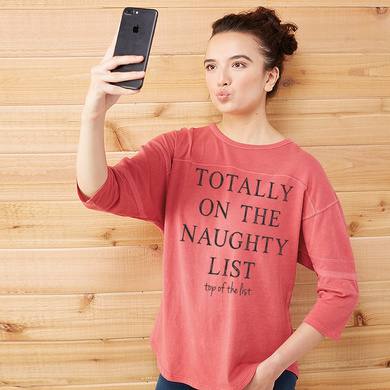 Totally On The Naughty List - Top of the List Women's Red Vintage Jersey