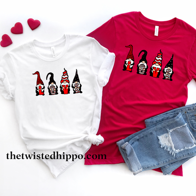 Gnome Love Valentine's White or Red T-shirt