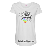 For This Child, I have Prayed Rainbow Baby Feet white Tee
