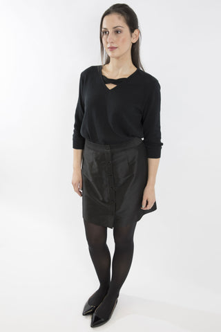 Sketch London black taffeta button front short skirt work office smart casual ethical sustainable eco luxury