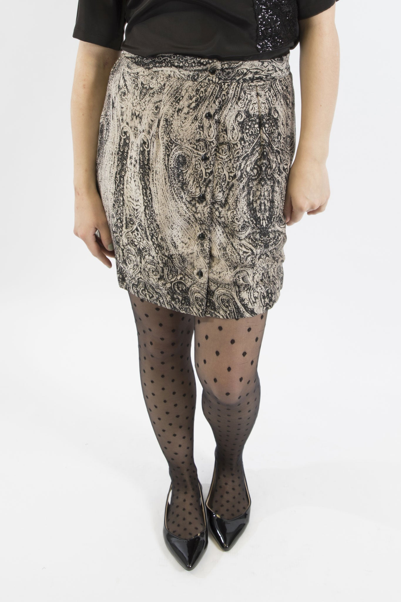 Sketch London artistic etching print button front short skirt work office smart casual ethical sustainable eco luxury