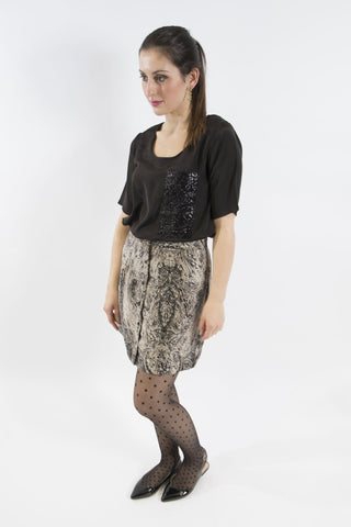 Button Front Skirt, Etching Print