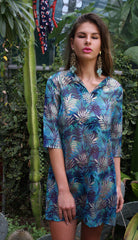 Sketch London Blue Lagoon Metallic Tunic Dress Beachwear Cover up