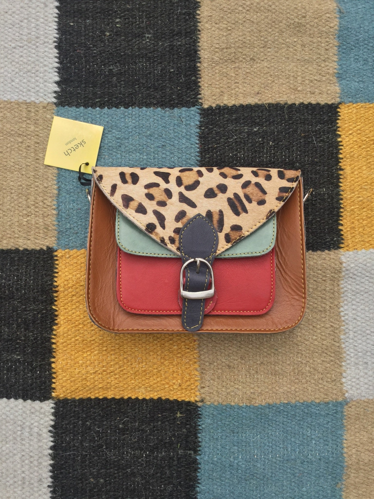 Leopard Print Satchel Bag: Caramel, Poppy & Soft Green