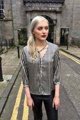 Sketch London Striped Satin Shirt Black Gold Ethical Fashion Women